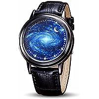 MINILUJIA - Reloj de pantalla táctil LED con correa de piel suave y correa de color negro, Estándar hombre