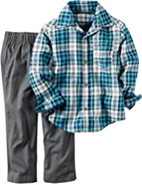 Carter's Baby Boys 2 Pc Playwear Sets, Plaid, 24M