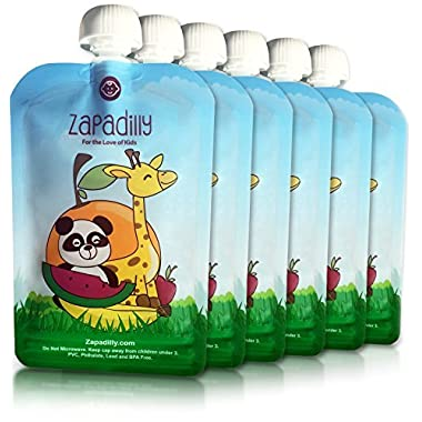 Zapadilly Reusable Food Pouch (6 Pk-6oz) Great for Feeding Baby and Toddlers