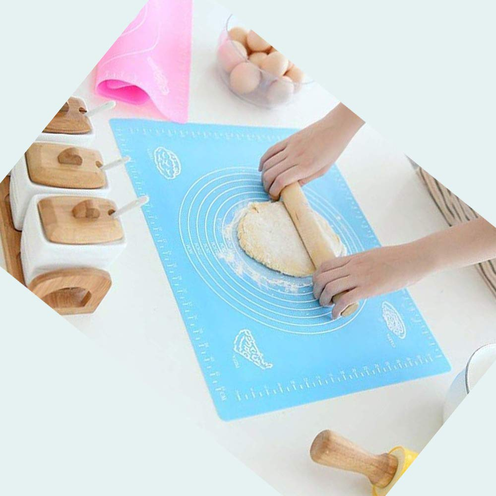 Blue 1 GCA Large baking silicone pad skid High temperature resistant,Pastry Fondant Silicone Work Rolling Baking Mat with Measurements