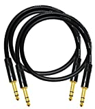 2 Units - 2 Foot - Canare L-4E6S Star Quad, Patch Cable terminated with Neutrik-Rean NYS ¼ Inch (6.35mm) Gold TRS Stereo Phone Plugs - CUSTOM MADE By WORLDS BEST CABLES.