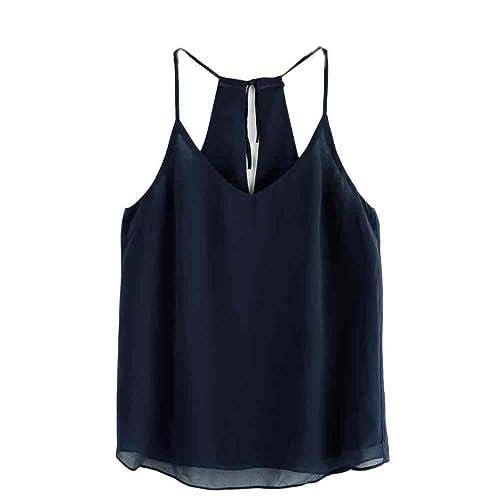 Rcool Mujeres de Gasa Verano de Sin Mangas Blusa de Tanque Casual Tapas Camiseta (S, Armada)