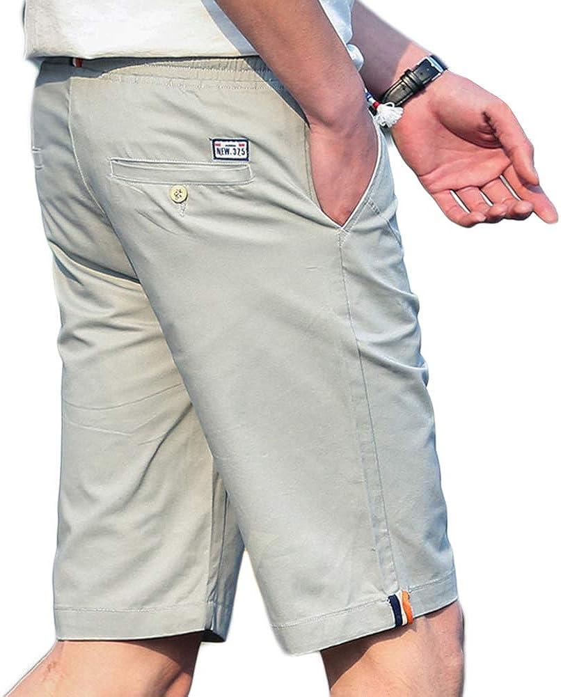 Mens Cotton Casual Classic Fit Shorts Elastic Waist Summer Beach Short Pants