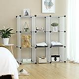 SONGMICS Storage Cubes, DIY Plastic Cube Organizer Units, Modular Closet Cabinet Unit for Clothes, Shoes, Toys, Book, White 9-cube ULPC33W