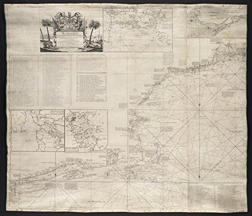 Historic Map | 1735 An actual survey of the sea coast from New York to the I. Cape Brition : with tables of the direct and thwart courses & distances from place to place | Antique Vintage Reproduction