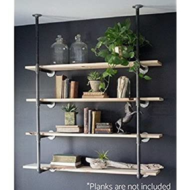 Industrial Retro Wall Mount Iron Pipe Shelf Bracket Diy Storage Shelving Bookshelf (4pcs)