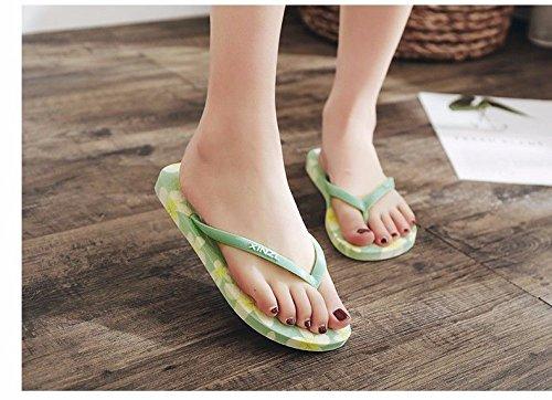 española Moda Verano Mujeres Zapatillas Nuevos de Zapatillas LIUXINDA de Playa Fondo Flip el Flops Las de Estudiantes marcar Suelo Productos Verde Plano XZ antirutsch XYxqI