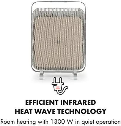 Klarstein HeatPal Marble Infrared Heater - 1300W, Heat Storing, Quiet Operation, Elegant Look, Brushed Aluminium Elements, Freestanding Device, Temperature Regulator, Silver