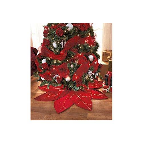 Pointsetta Christmas Tree.Red Poinsettia Christmas Tree Skirt