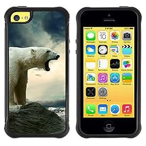 "Pulsar iFace Series Tpu silicona Carcasa Funda Case para Apple iPhone 5C , Oso polar del rugido del mar Océano Ártico Acantilado Cielo"""