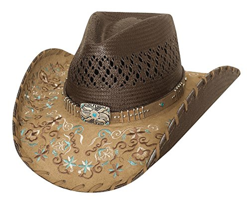 Ladies Platinum Collection - Bullhide Hats Women's Platinum Collection Flower Embrodiery Never Give Up Brown Straw Western Hat Medium