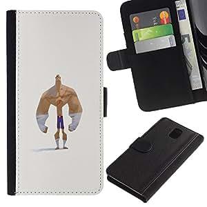 iBinBang / Flip Funda de Cuero Case Cover - Divertido Hombre Fuerte - Samsung Galaxy Note 3 III N9000 N9002 N9005