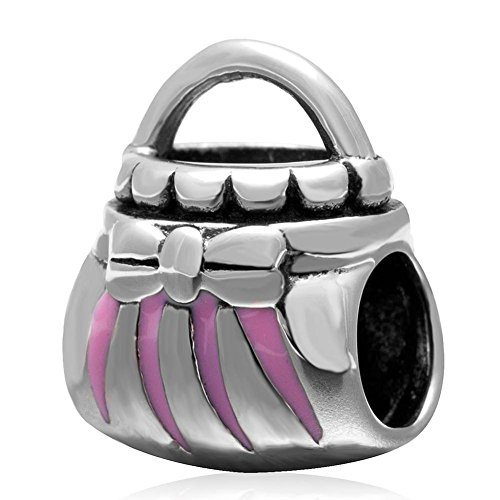 (Choruslove 925 Sterling Silver Shopping Handbag Charm with Pink Enamel Hand Bag Bead for Women Charm Bracelet)