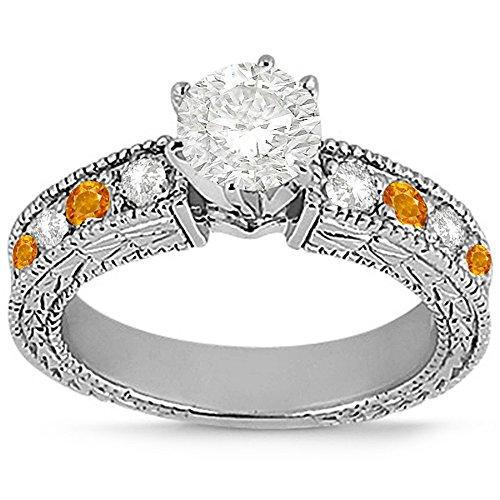 - Heirloom Genuine Citrine and Diamond Engagement Ring Band Filigree 14 karat White Gold (0.75ct)