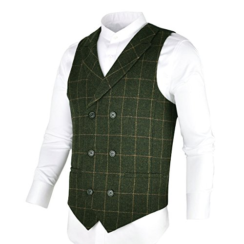 ol Suit Vest Herringbone Tweed Vintage Check Waistcoat with Lapel,Double Breasted (Army Green, M) ()