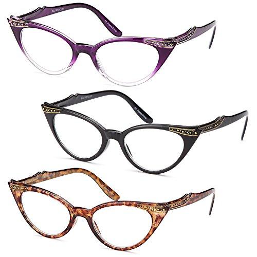 GAMMA RAY 3pk Womens Chic Cat Eye Vintage Reading Glasses