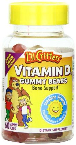 L'IL Зубастики Витамин D Gummy Bears, 60 граф, бутылки (3 шт)