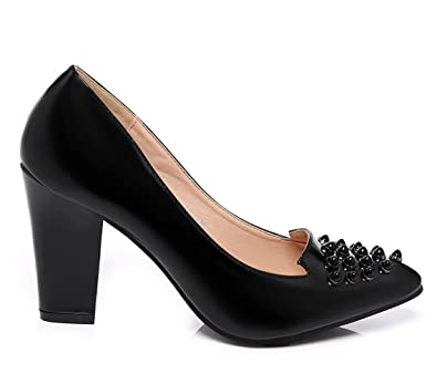 2e0d24a847470d Women s Ladies Girls Black Studded Pointed Block Heel Court Shoes (UK 3-8