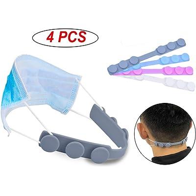 4 piezas de ganchos para la oreja, ajustable cómodo y antideslizante de extensión de máscara, 4 colores, gancho de protección facial de silicona para adultos y niños
