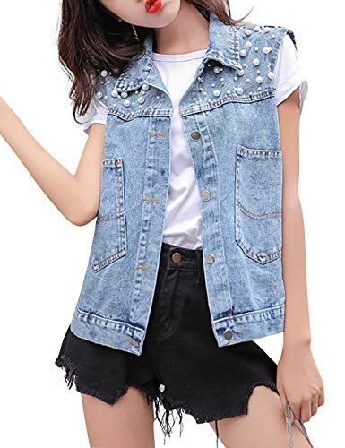 HUPOO Women's Loose fit Jean Vests Beaded Pearl Denim Jacket Coats (Blue, Large)