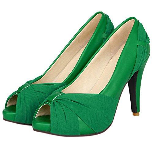 col Verde Stiletto Scarpe Peep da COOLCEPT Piattaforma Scarpe Toe Donna Tacco CFqv5w4Ow