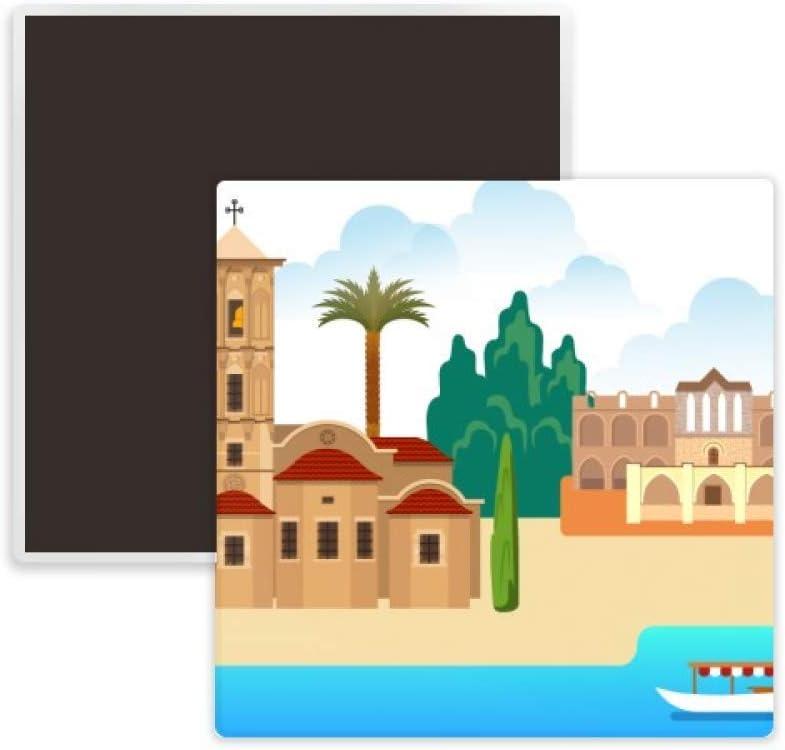 Cyprus National Landmark Building Square Ceramics Fridge Magnet Keepsake Memento