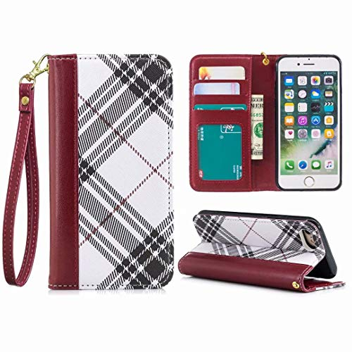 Price comparison product image Earcase iPhone Xs Case,  PU Leather Wallet Cover Flip Fold Credit Card Slots Purse Magnetic Retro Plaid Stylish Slim Stand Shockproof Anti-Drop Soft TPU for 5.8 inch iPhone X / XS / 10-White