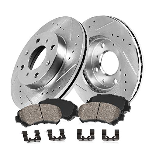 Callahan CDS02335 FRONT 277mm D/S 4 Lug [4] Rotors + Ceramic Brake Pads + Hardware [for 1987-1993 Ford Mustang GT V8] ()
