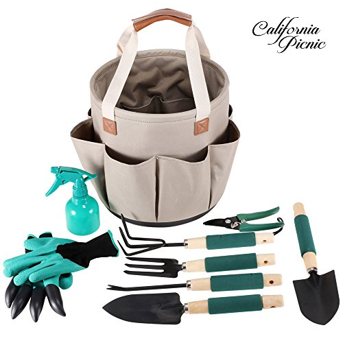 Garden Tools Set Garden Tote | 9 Piece Garden Tool Set | Digging Claw Gardening Gloves Gardening Gifts Tool Set | Garden Trowel Pruners | Vegetable Herb Garden Hand Tools Storage Tote