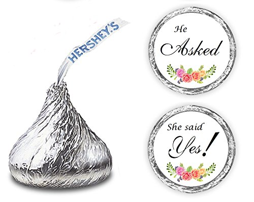 324 Floral Roses He Asked She Said Yes!, Hershey Kiss Wedding Stickers, Chocolate Drops Labels Stickers for Weddings, Bridal Shower Engagement Party, Hershey's Kisses Party Favors