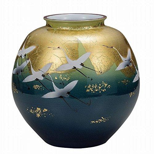 Jpanese traditional ceramic Kutani ware. Ikebana flower vase. Yusai gold leaf crane. With wooden box. ktn-K5-1350
