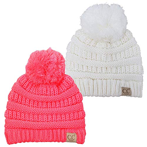 H-6847-2-2537 Kids Pom Beanie Bundle - 1 Ivory, 1 Candy Pink (2 Pack) (Boys Coat 1 4 In Winter)