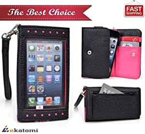 [Expose] Samsung Galaxy Gio S5660 Phone Case Wristlet Women's Wallet with Frosted Screen Protector - BLACK & MAGENTA