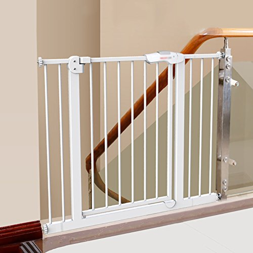 WSSF- Liberty Extra Wide Auto-Close Gate Extension Baby Stairs Safety Gates Fence Indoor Toddler Play Area Playpen Dog Gates Stairs Pet Fence Rod Isolation Door (Size : 105-114cm) ()