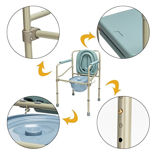 Mefeir Commode Toilet Chair Heavy Duty Steel 330LBS, FDA Medical Folding Supply with Safety Frame Rails Bedside, for Senior with Commode Bucket and Splash Guard 3 In1 Upgraded (330LBS) by Mefeir (Image #3)