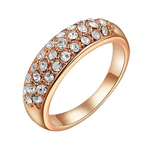 MagiDeal Anillo de Dedo 3 Filas de Diamante de Imitación Brillante Estilo Lujo Elegante - Oro rosa, 9