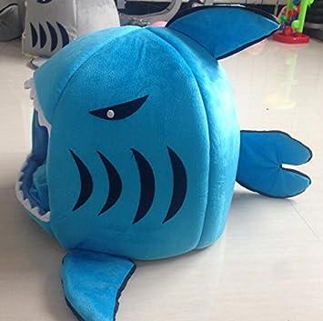 Sun Glower Bonita Cama para Su Mascota Perrito Tiburón Plegable Redondo para Mascotas Perro Gato Casa Cama Cojín Estera Cama Pequeña Interior Azul S: ...