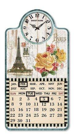 Amazon De Wanduhr Mit Kalender Paris Shabby Nostalgie Kuchenuhr Uhr