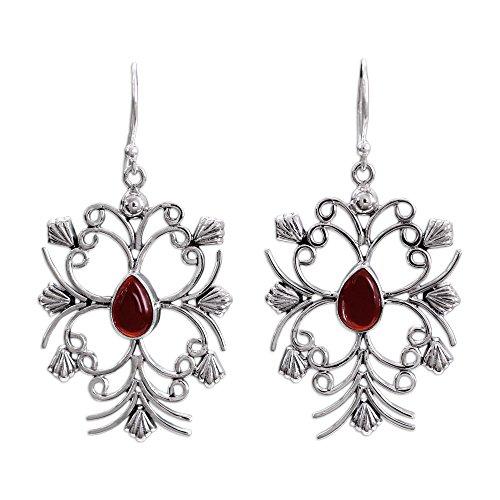 NOVICA Carnelian .925 Sterling Silver Dangle Earrings 'Vintage - Earrings Floral Carnelian