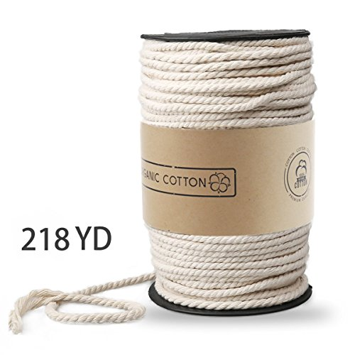 Macrame Cord, ZOUTOG 3mm x 200m (About 218 yd) Natural Cotton Soft Unstained Rope for Handmade Plant Hanger Wall Hanging Craft Making