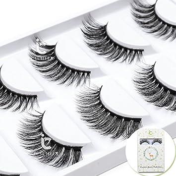 a7e50d0a2a1 Amazon.com : Luxurious 100% Siberian Mink Fur 3D False Eyelash ICYCHEER  Degisn Natural Messy Volume Fluffy Long Hot Fake Eyelashes 5 Pairs/Box (25)  : Beauty
