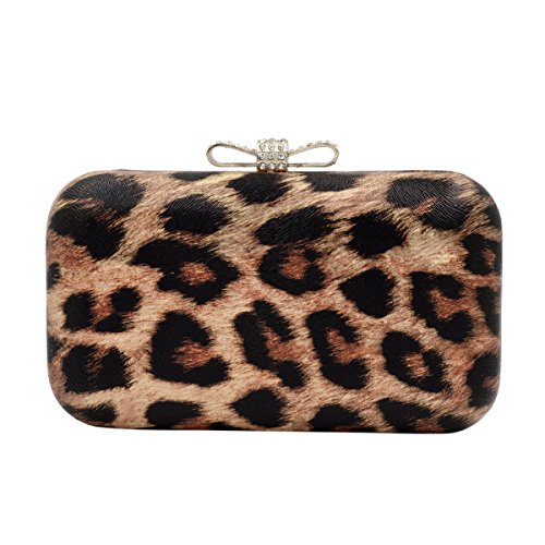 Elegant Leopard PU Leather Crystal Bow Top Hard Clutch, Brown
