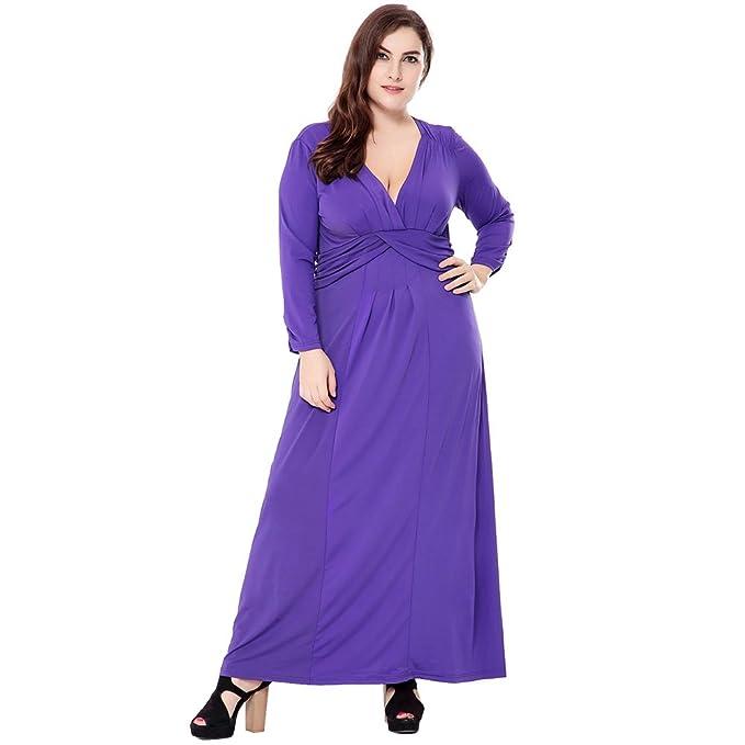 Vestido Femenil Exlura Vestido Largo para Tallas Grandes con Cuello a V Vestido para Fiestas