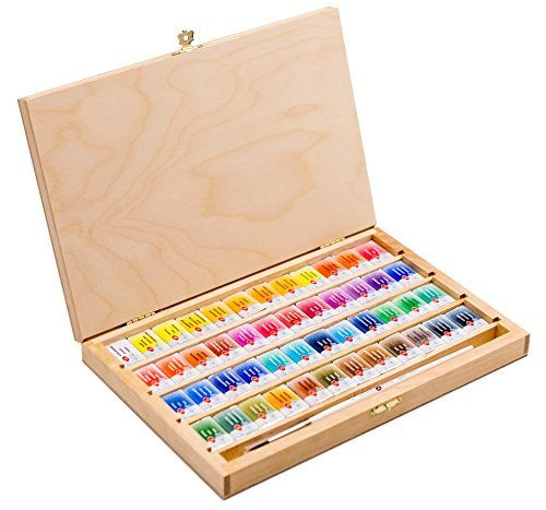 - 48 Saint Petersburg Watercolor Paint Set Birch Box with a Squirrel Brush