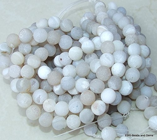 Natural White Color Agate Druzy Beads - Matte Finish - Full 15