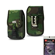 Camo Heavy Duty Rugged Camouflage Hunter Case with Locking Clip Closure and Metal Clip and Belt Loop on the back for Samsung Galaxy S3 with Otterbox Defender Case on it. Great for Hiking, Camping. Comes with Radiation Shield.