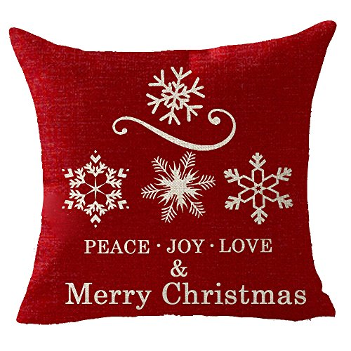 Merry Christmas snowflake peace love joy Throw Pillow Cover Cushion Case Cotton Linen Material Decorative 18