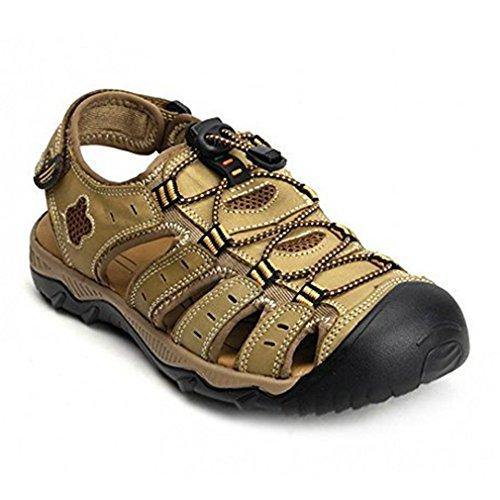 RVROVIC Leather Strap Mens Sandals Summer Gladiator Shoes US 6.5- US 12 Plus Size 3 Colors Khaki-green M196Ktt3x