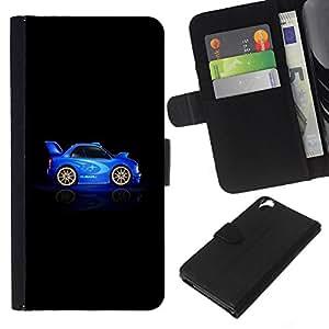 EJOY---La carpeta del tirón la caja de cuero de alta calidad de la PU Caso protector / HTC Desire 820 / --Coche Azul Negro Racing Rally Drive