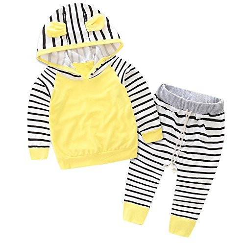Kidsa 0-3T Unisex Baby Little Boys Girls Outfits Set Long Sleeve Striped Hoodies + Long Pants,Yellow